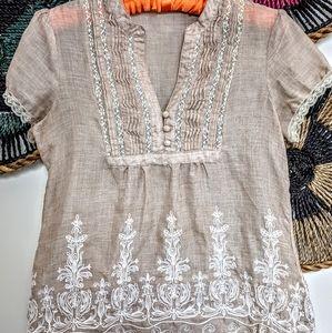 Love Stitch Short Sleeve Peasant Top Medium Hippie